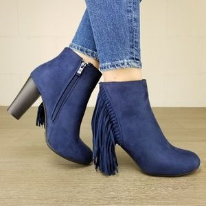 Navy Vegan Suede Apache String Boots - S